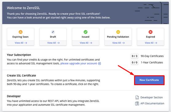 ZeroSSL - 1 - New certificate