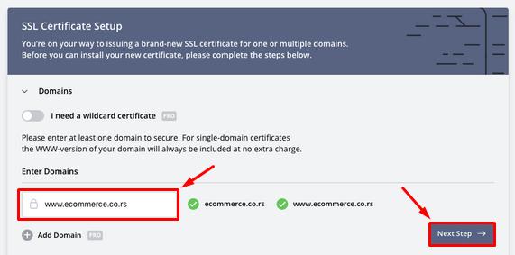 ZeroSSL - 2 - Domen name