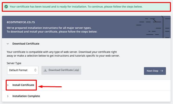 ZeroSSL - 9 - Install certificate