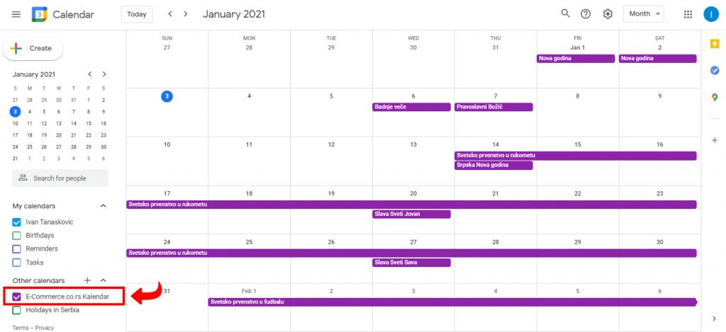 Insertovanje kalendara - Korak 4