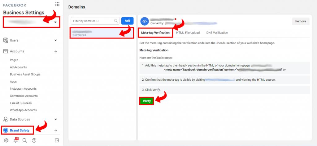 Verifikacija implementacijom Meta Tag-a