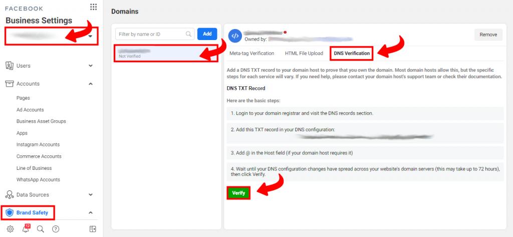 Verifikacija dodavanjem DNS TXT parametara